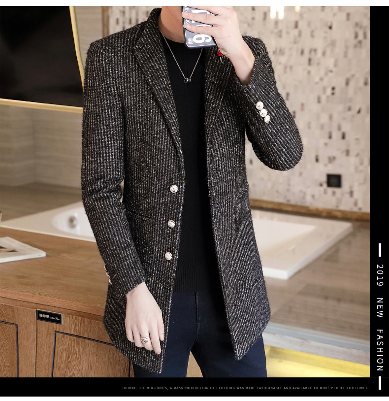 Autumn and winter windshield men's long hair coat Korean version of the trend handsome British wind coat men thickened 60 Online shopping Bangladesh