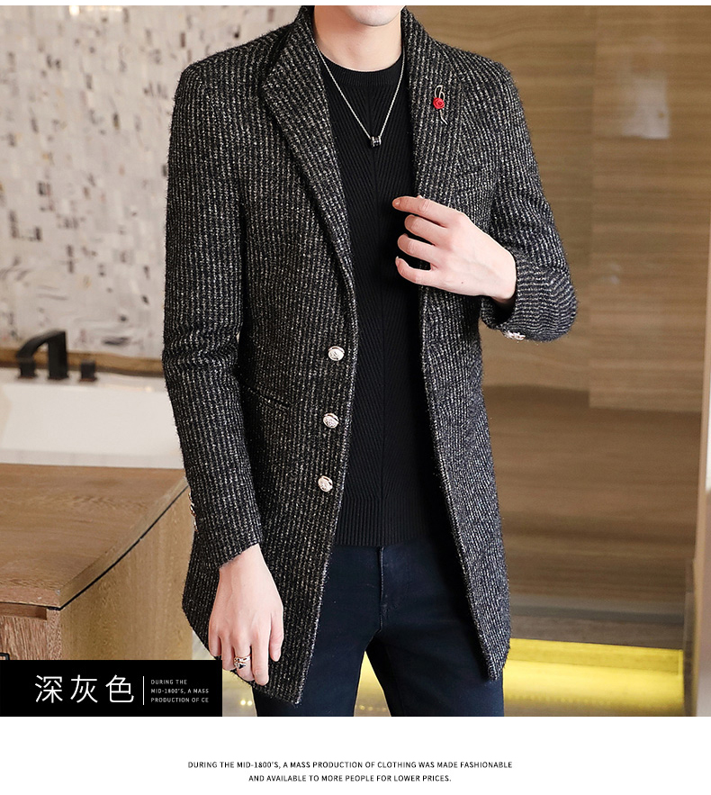 Autumn and winter windshield men's long hair coat Korean version of the trend handsome British wind coat men thickened 57 Online shopping Bangladesh