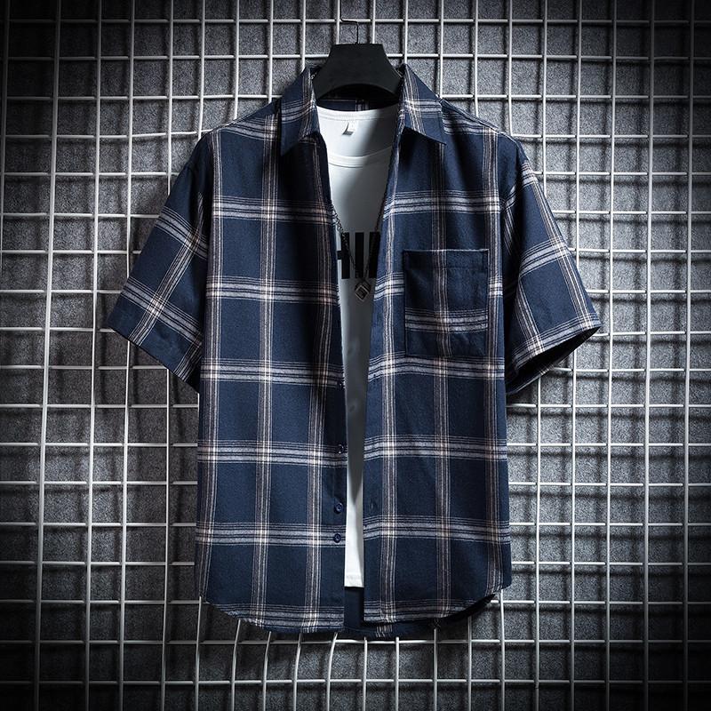 爵森马伯特格子衬衫男夏季宽松短袖衬衣