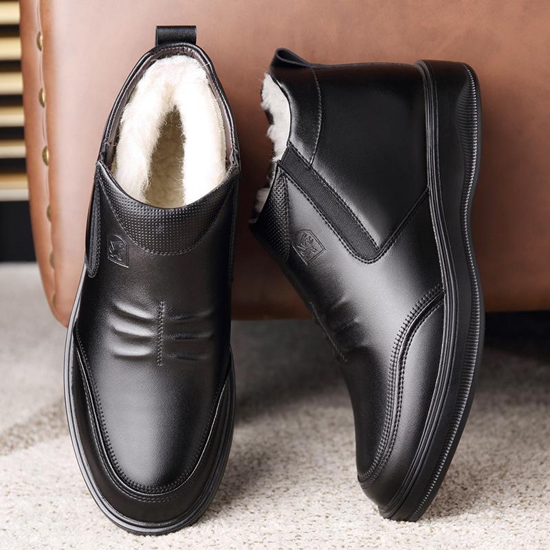 中年人加绒真皮一脚蹬商务皮鞋2020防滑头层牛皮男士皮棉鞋爸爸鞋