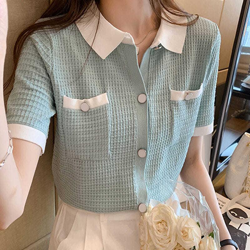 冰丝针织衫女短袖夏天薄款撞色polo领小香风打底开衫百搭气质上衣
