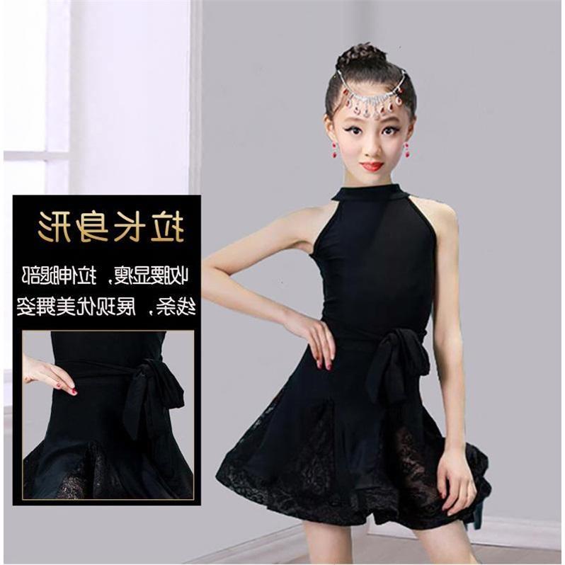 Nữ sinh trung học đen váy khiêu vũ Latin cao cấp trang phục biểu diễn múa thực hành quần áo khiêu vũ Latin trang phục cô gái mùa hè - Quần áo ngoài trời