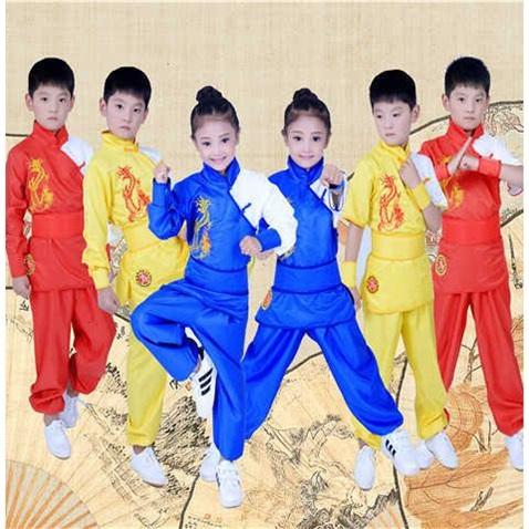 Quần áo võ thuật cho bé trai và bé gái mùa thu Tai Chi quần áo luyện tập quần áo võ thuật đào tạo quần áo dài và ngắn tay áo biểu diễn võ thuật - Quần áo ngoài trời