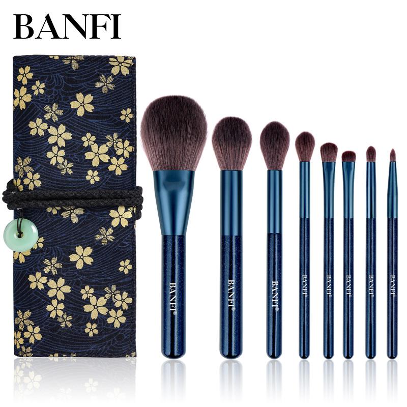 BANFI / Bonfi Bộ cọ trang điểm 8 sao màu xanh đặt công cụ trang điểm làm đẹp cho người mới bắt đầu dùng phấn phủ lỏng - Các công cụ làm đẹp khác