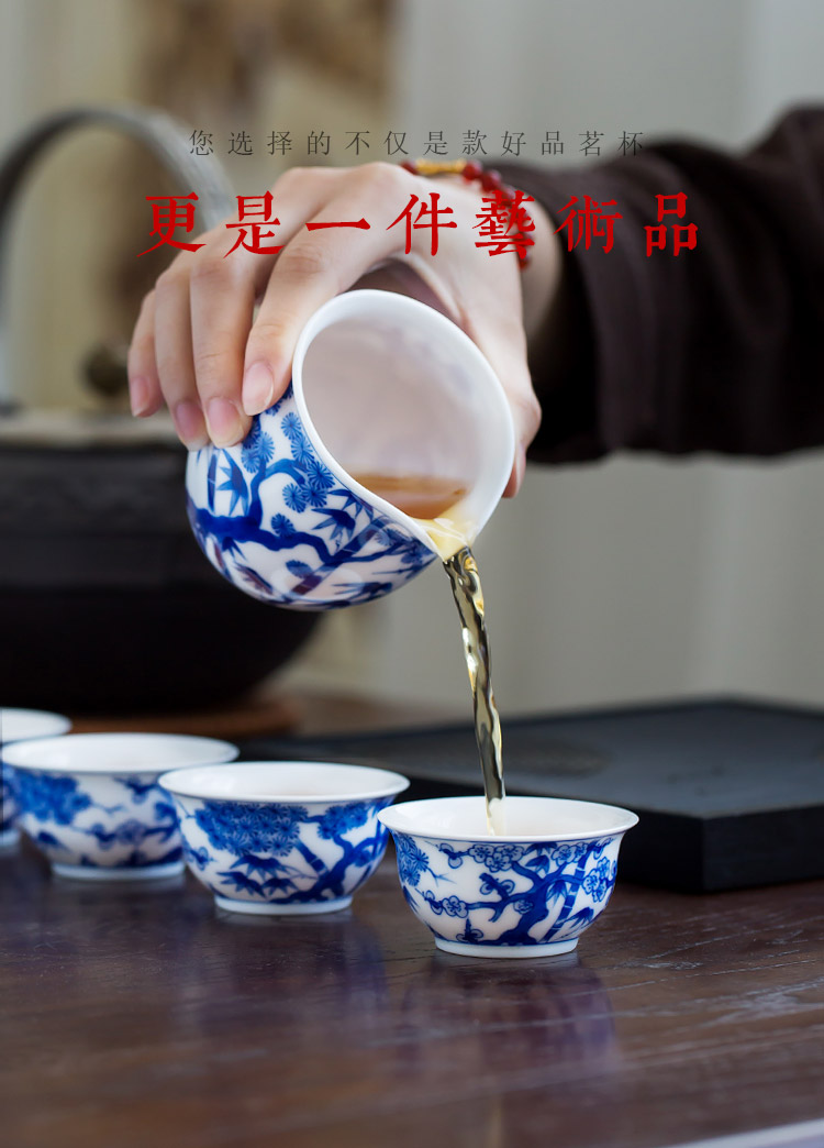 Jingdezhen up the fire which hand - made shochiku mei sample tea cup small single ceramic cups of tea light blue and white porcelain kung fu