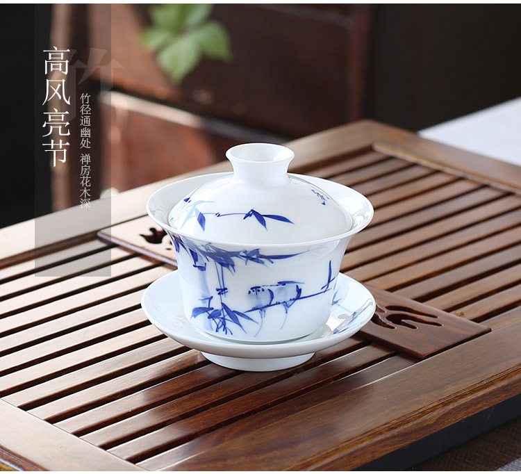 Jingdezhen up the fire which tureen hand made blue and white porcelain cup tea bowl three only a single large ceramic bowl