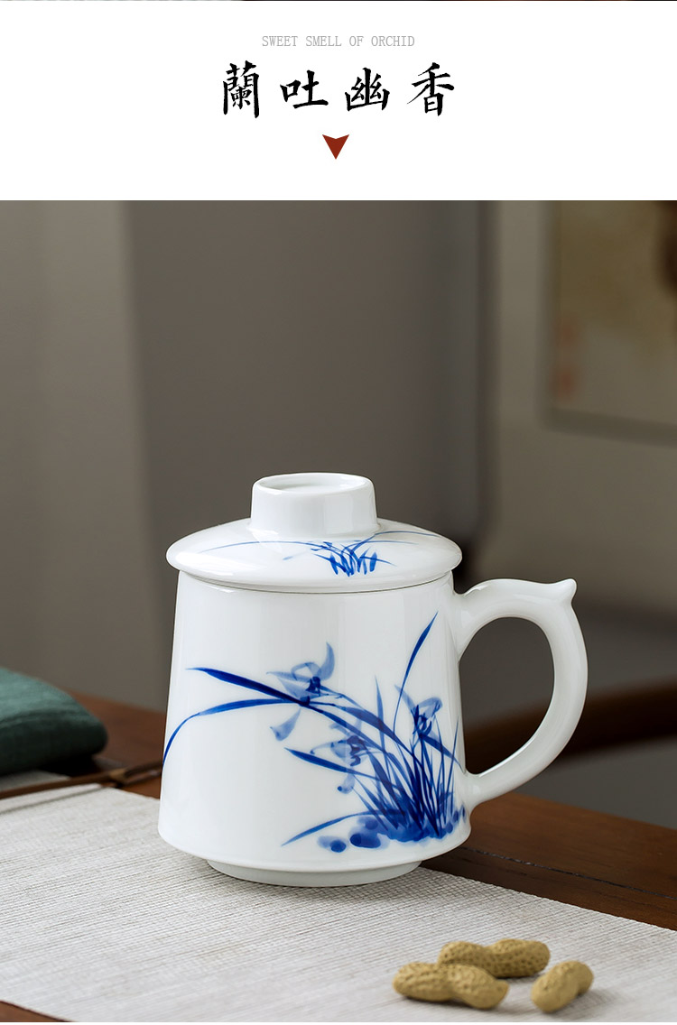Jingdezhen up the fire which is hand made blue and white porcelain teacup large - sized office cup with cover filtering Chinese style household ceramics