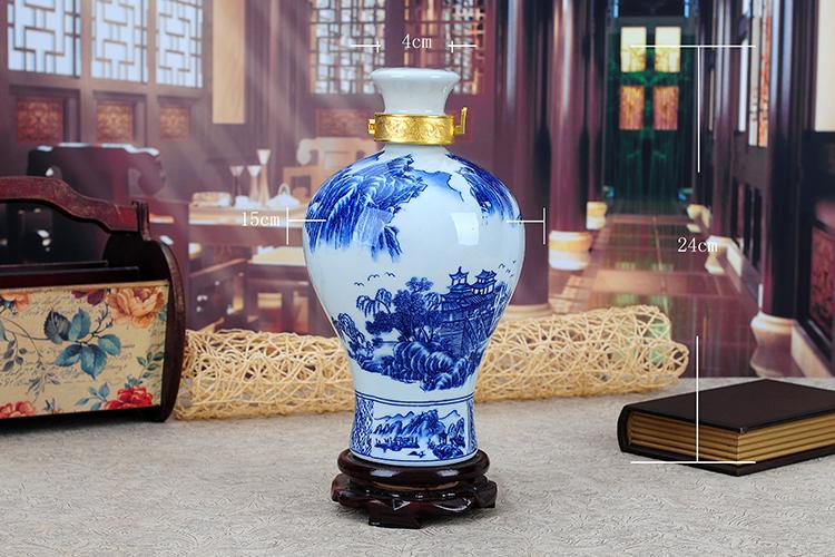景德镇陶瓷酒瓶青花山水三斤装酒瓶 3斤5斤装釉下彩密封白酒坛子