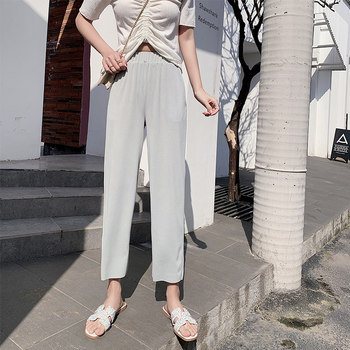 Xia Bing straight jeans female silk pant waist drape thin models wild loose wide leg grandmother nine points Korean thin