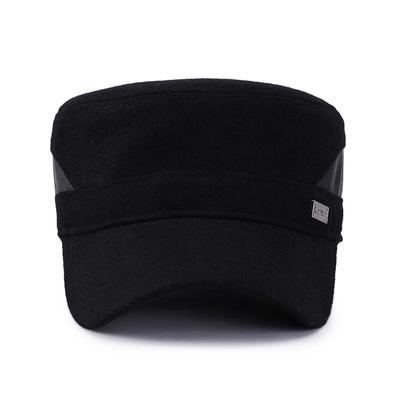 中老年帽子男秋冬季户外爸爸帽毛呢护耳保暖平顶帽老头老人爷爷帽
