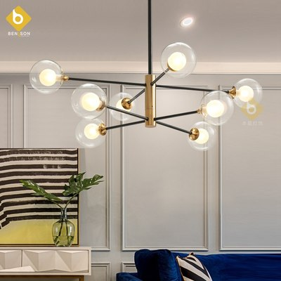 .Benchen Nordic Magic Bean Chandelier Molecular Lamp Glass Ball Bubble Ball Branch Minimalist Line Living Room Dining Room Hanging