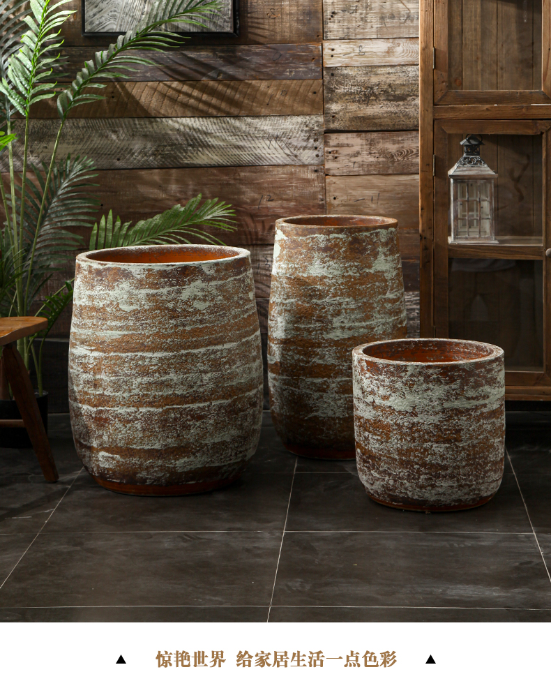 Restore ancient ways to heavy ground ceramic flower pot brown tabby creative green plant flowers, is suing garden home furnishing articles