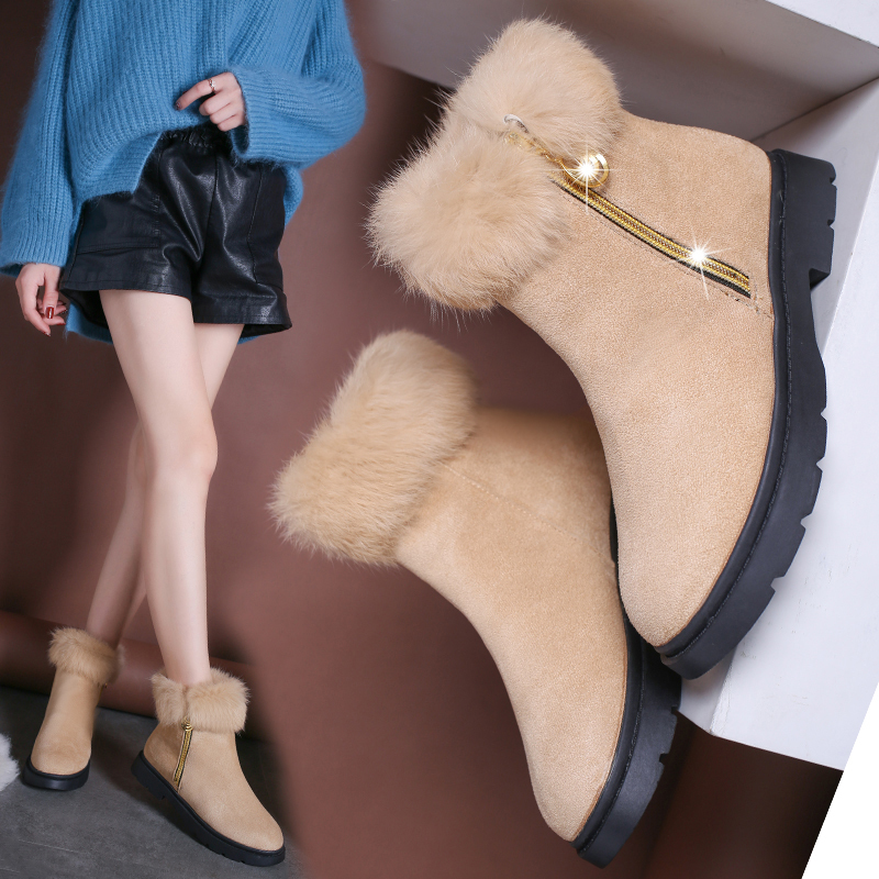 百搭加绒加厚保暖平底短筒女靴