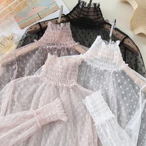 蕾丝打底衫女波点网纱内搭长袖半高领镂空很仙的上衣洋气内搭超仙