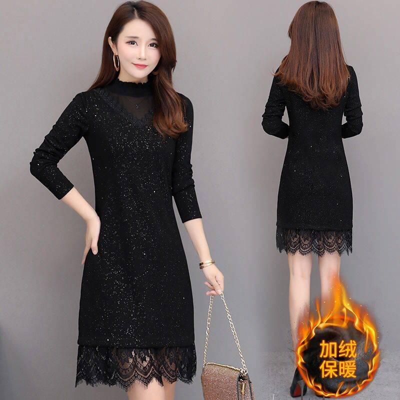 【加绒不加绒】黑色打底连衣裙女新款长袖大码中长款加绒秋冬裙
