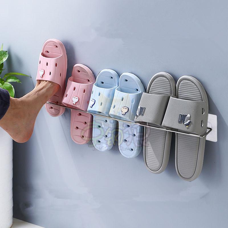 简易浴室拖鞋架不锈钢免打孔卫生间收纳架壁挂置物架厕所放鞋架子