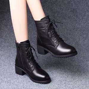 秋冬新款粗跟中跟短靴季马丁靴女