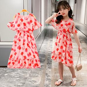 女童连衣裙红色儿童裙雪纺中大童公主裙