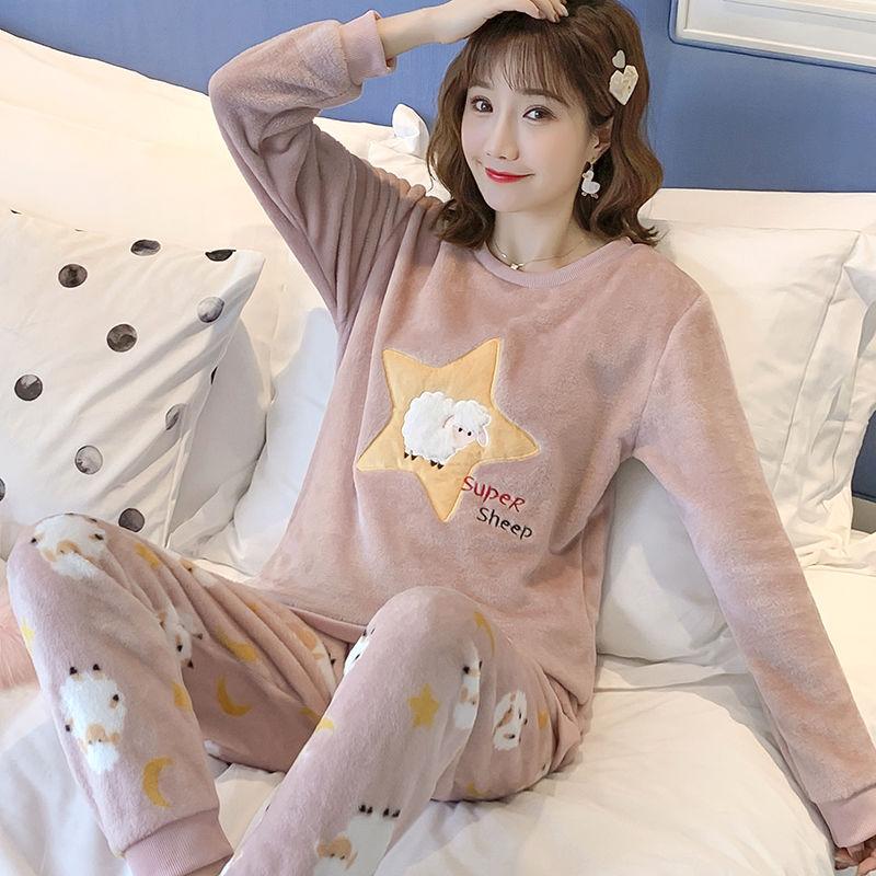 秋冬季法蘭絨睡衣女長袖保暖套裝女士可愛卡通加厚珊瑚絨睡衣女冬