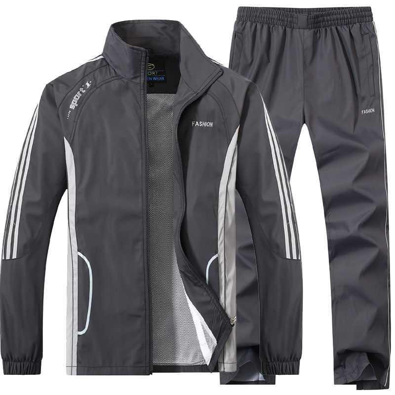春秋季爸爸30男装40中老年50运动休闲夹克外套装45中年户外服装岁