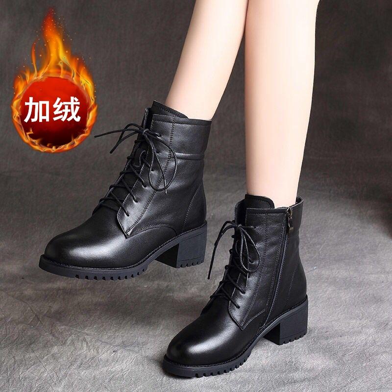 马丁靴冬季女短靴加绒厚底中跟百搭粗跟妈�y妈鞋英伦风百搭女靴子潮