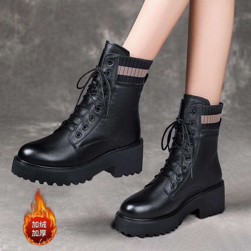 软皮马丁靴女中跟英伦风加绒2020秋冬新款皮≡棉鞋粗跟时尚单靴短靴