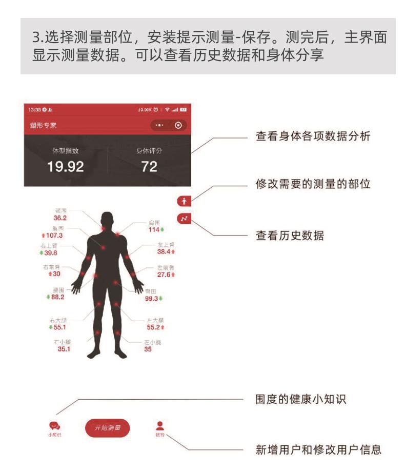 盛泰芯电子体脂皮尺量三围软尺子腰围智能健康尺测围度尺随身捲尺详细照片