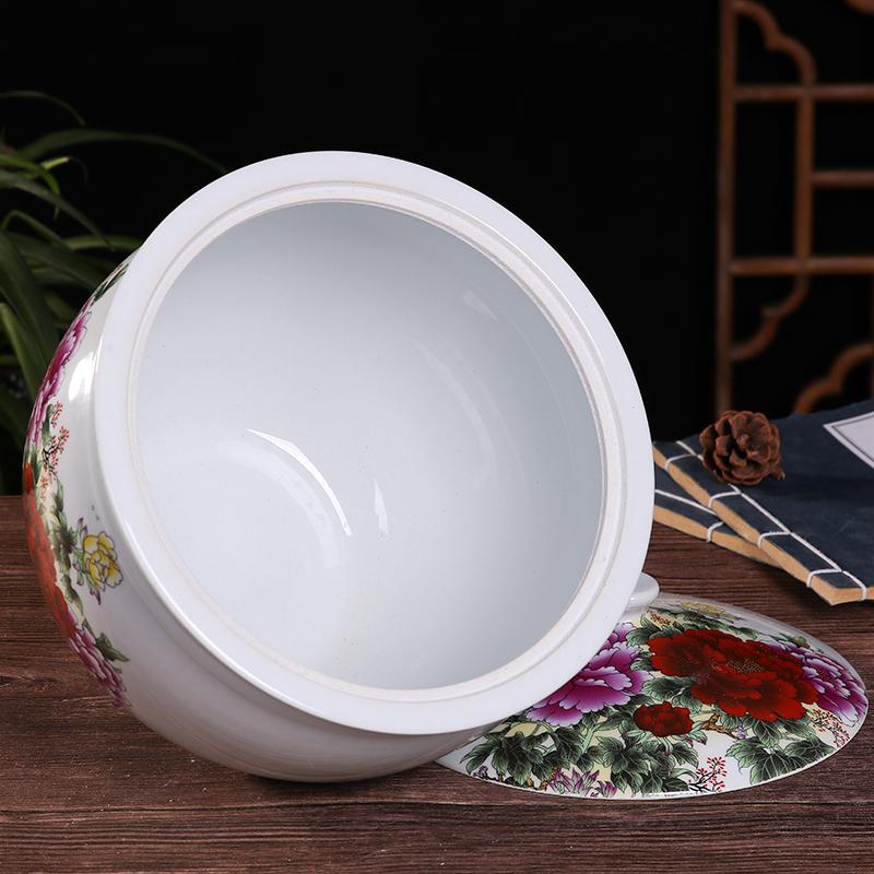 景德镇带盖青花米缸陶瓷米桶储米箱10/20斤猪油罐腌菜茶叶罐家用