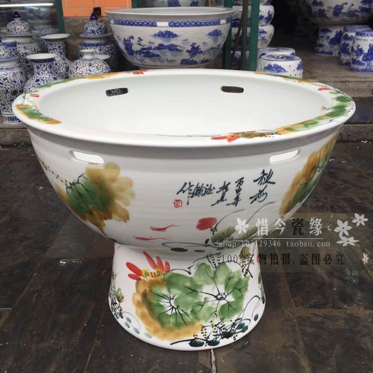 Heavy aquarium fish basin ground blue jingdezhen ceramic cylinder vertical is suing large lotus garden water lily