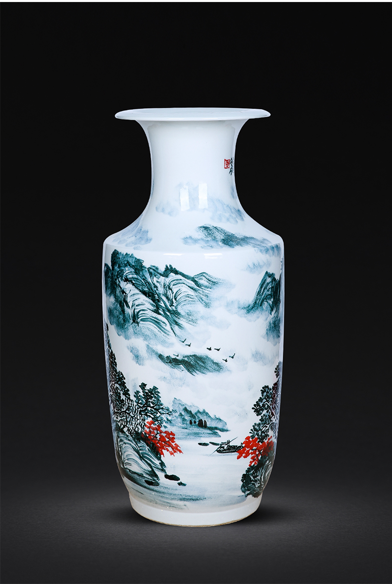 Jingdezhen ceramics hand - made scenery of large blue and white porcelain vase flower arranging the calligraphy and painting scroll cylinder furnishing articles sitting room