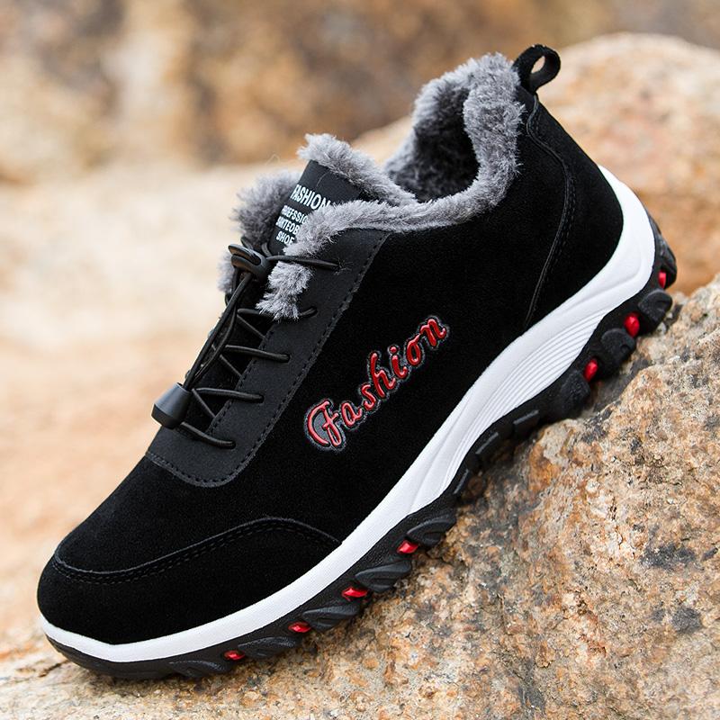 冬季新款保暖运动休闲鞋男士棉鞋户外登山鞋潮加棉单鞋加绒男鞋子