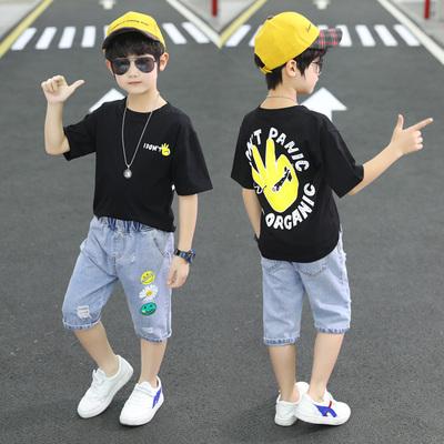 男童短袖牛仔短裤套装男孩半袖大裤衩两件套
