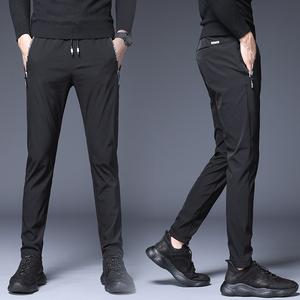 夏季薄款男士修身小脚直筒长裤丝滑超薄速干