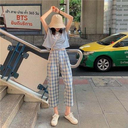 港风格子高腰休闲裤裤夏款2021年新款宽松直筒复古学生9分裤韩版 第76张