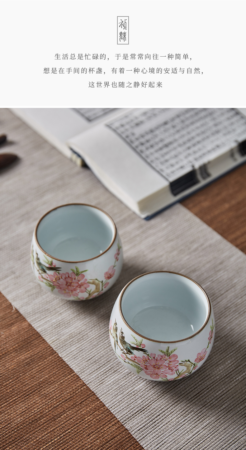 Shot incarnate all hand the up master cup of jingdezhen ceramic hand - made painting of flowers and kung fu tea set sample tea cup personal single CPU
