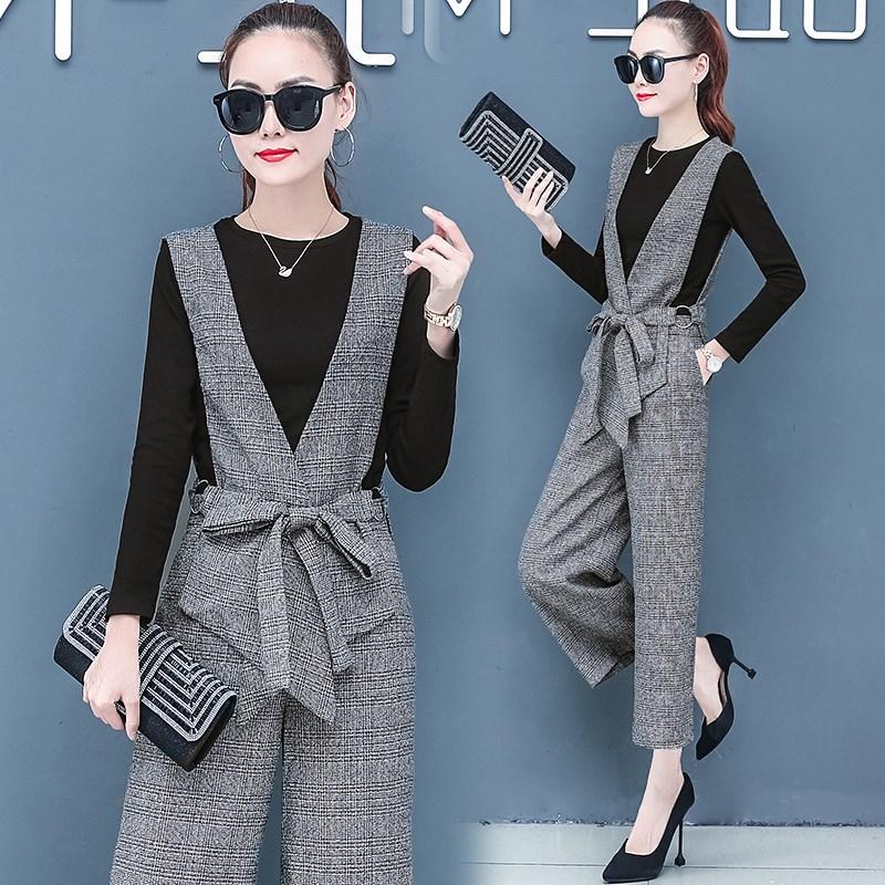 春季女装时尚套装三件套2020新款裤子气质阔腿裤三件套女洋气潮流