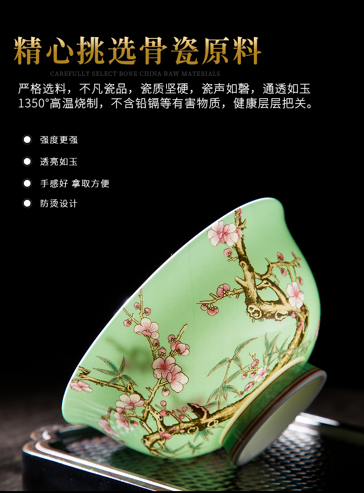 Wooden house product archaize colored enamel bowls of household use under high court job jingdezhen Chinese high - grade tableware