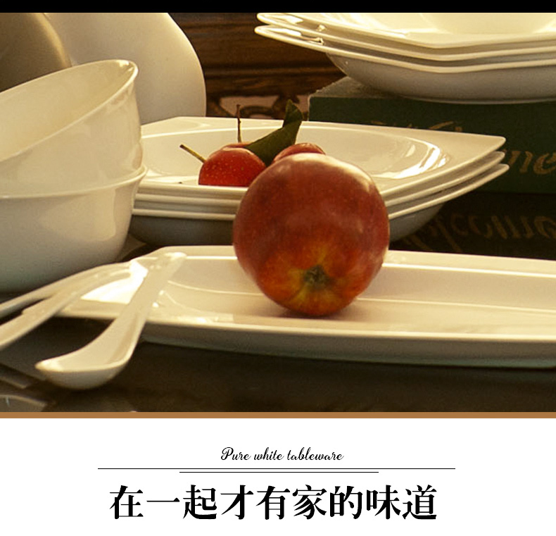 The dishes suit pure white ipads China household dish bowl of jingdezhen ceramics tableware bulk, DIY free combination