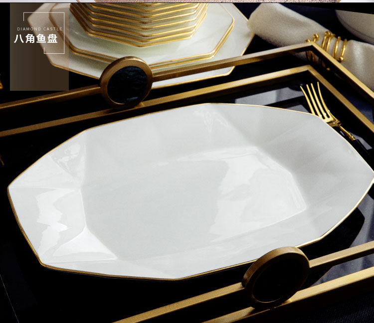 Wooden house product jingdezhen ipads China up phnom penh dish suits for modern tableware light key-2 luxury high - grade contracted household northern Europe