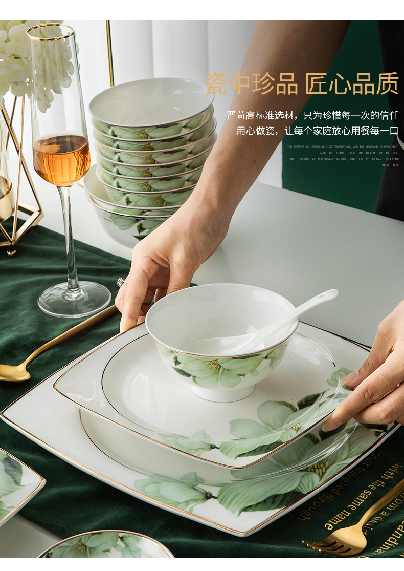 Wooden house product light dishes suit household Nordic contracted key-2 luxury dining utensils jingdezhen ceramic tableware dishes