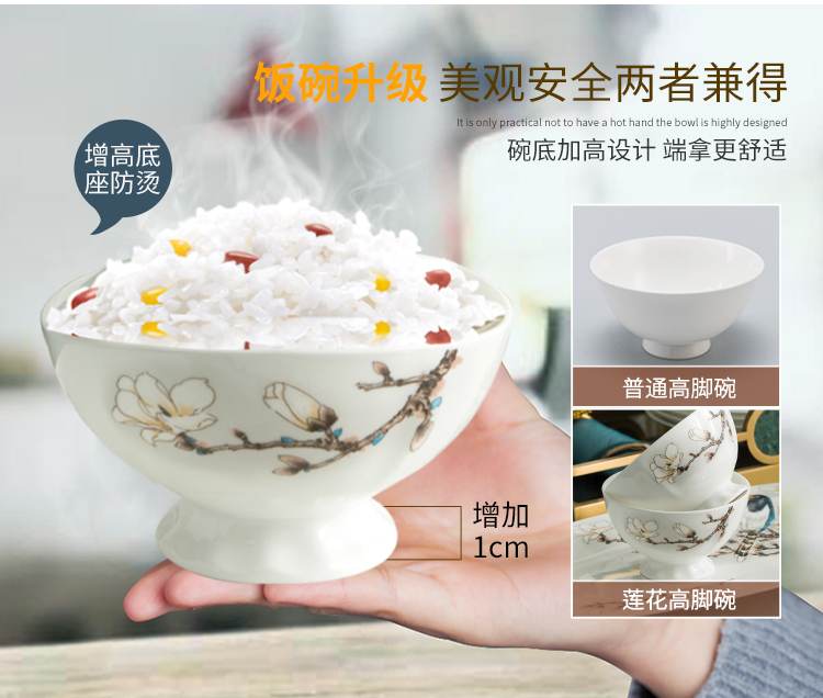 The dishes suit household of Chinese style of jingdezhen ceramic tableware high - grade portfolio European - style ipads bowls dish bowl chopsticks sets
