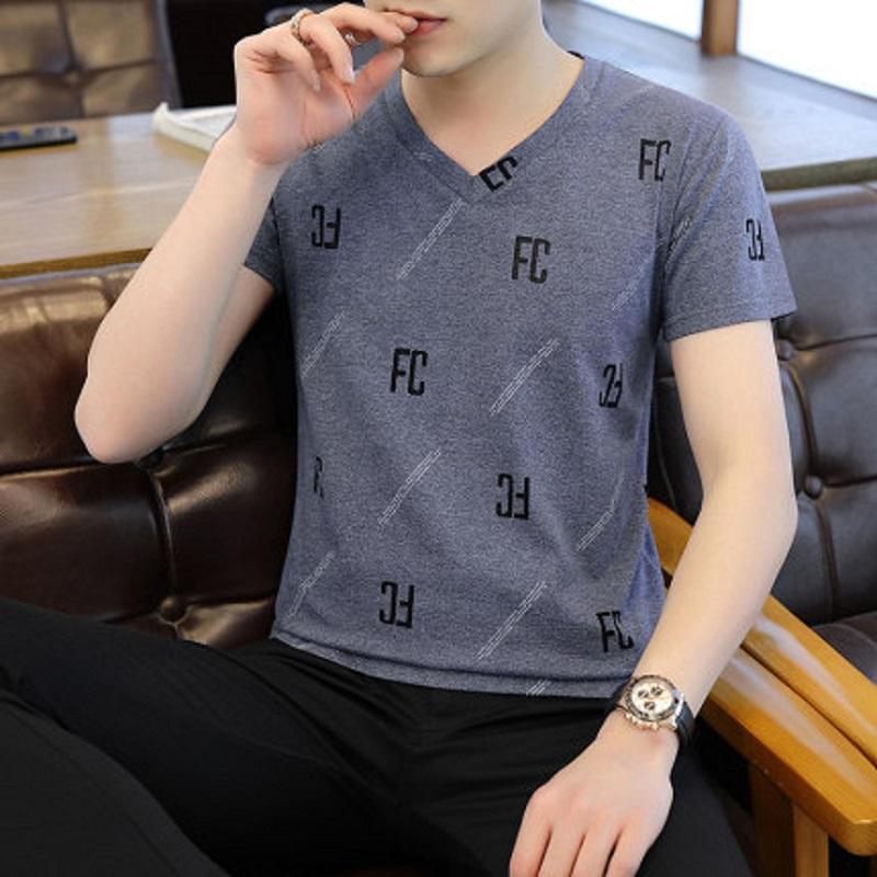 T恤男短袖夏季仿冰丝2020时尚青年潮流圆领学生棉T恤男打底上衣