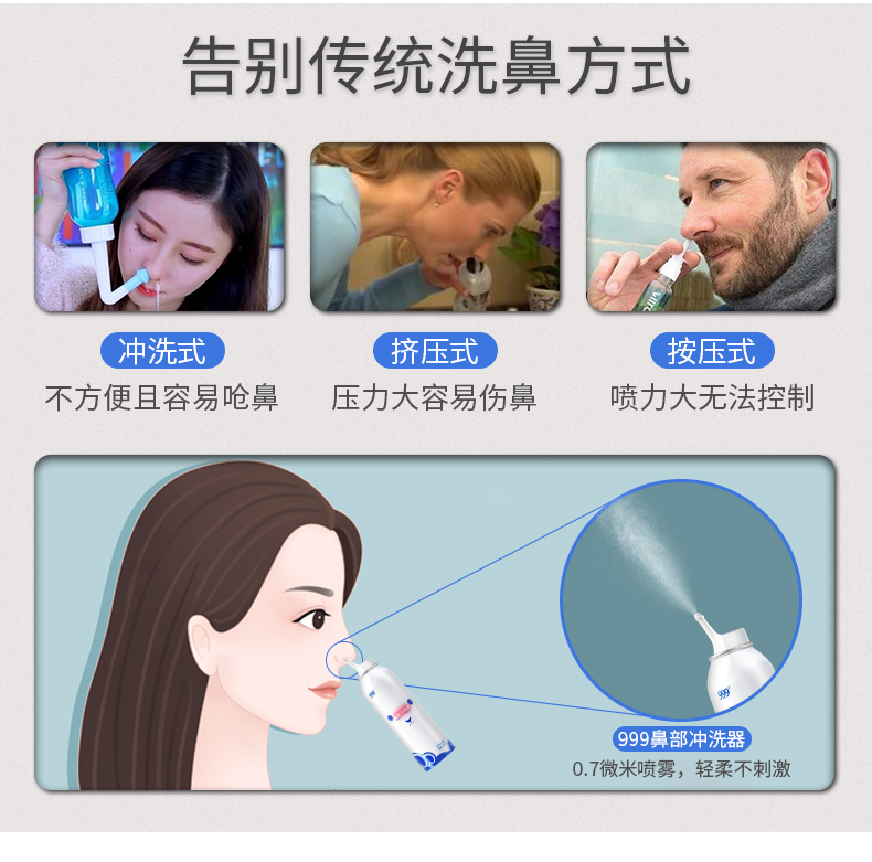 999 洗鼻器 生理性海盐水喷雾100ml 孕婴可用 图5