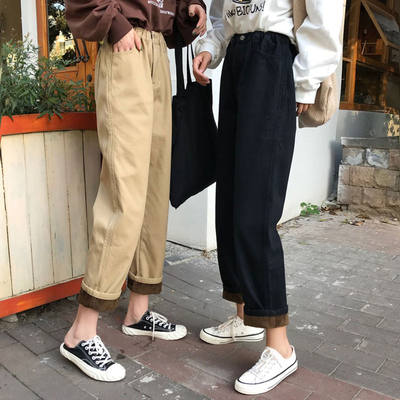 Autumn and winter plus velvet pants female students Korean style loose Hong Kong flavor Harajuku high waist outer wear thick tooling casual pants trend