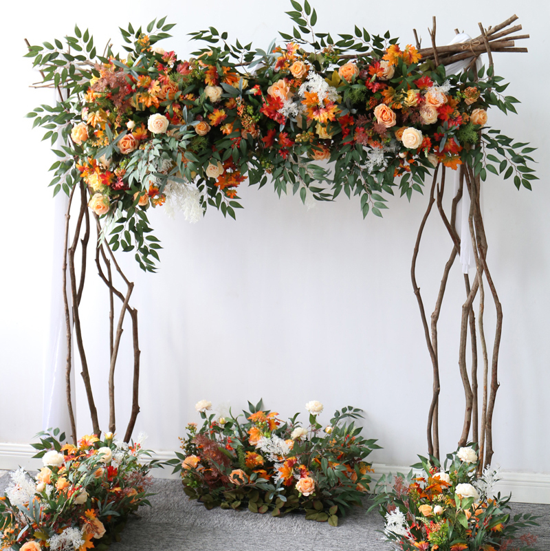 Forest autumn arch Wedding floral welcome flower photography background decoration decoration props Road lead long flower row
