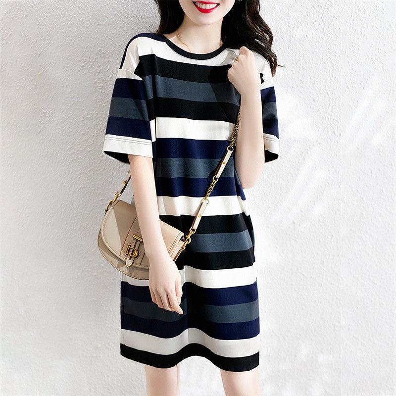 中长款宽松大码条纹半袖上衣设计感短袖t恤裙女小众夏装体恤ins潮