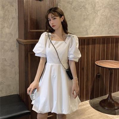 连衣裙女法式气质超仙泡泡袖时尚短裙森系复古显瘦设计感小众裙子