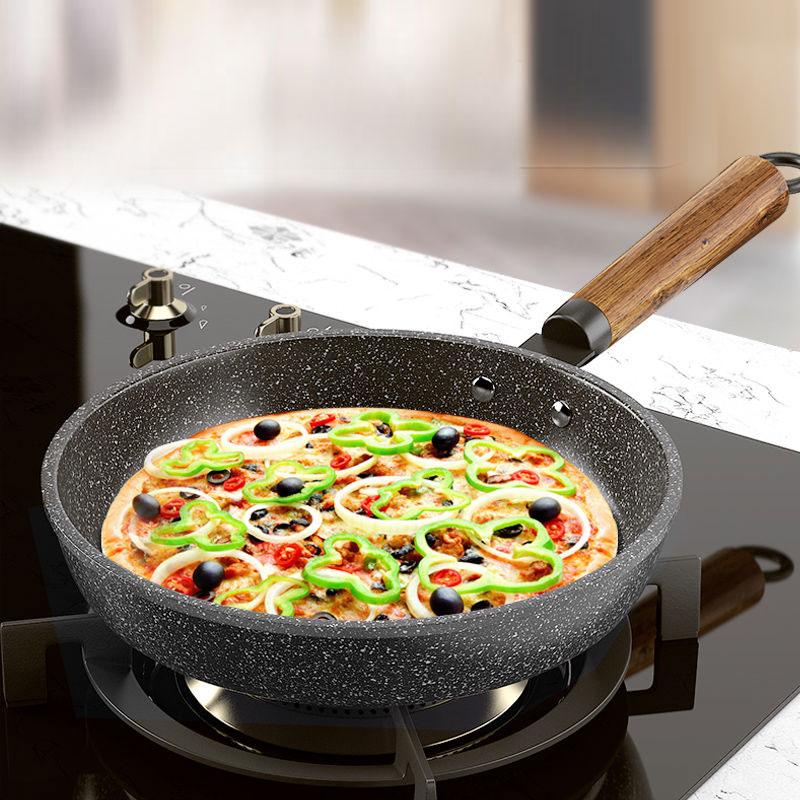 麦饭石煎锅涂层不粘锅家用平底锅少油烟
