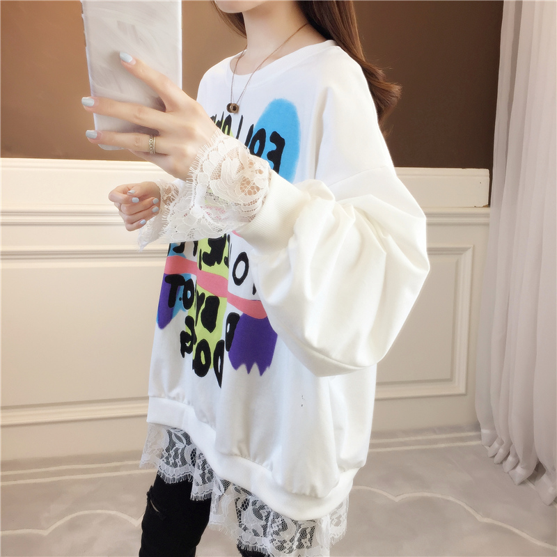 Design sense lace stitching thin wei clothing women spring and autumn Korean version of loose-fitting niche jacket foreign gas jacket ins tide 55 Online shopping Bangladesh