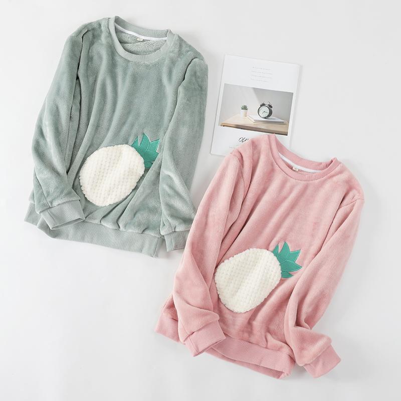 . Flannel đồ ngủ phụ nữ mùa thu và mùa đông dày ấm cổ tròn mũ trùm đầu một mảnh áo nhung san hô dịch vụ nhà cộng với - Pyjama